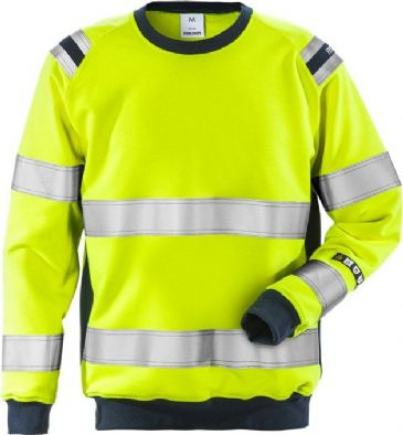 Fristads Flamestat High Vis Sweatshirt CL 3 7076 SFLH (Hi Vis Yellow/Navy)